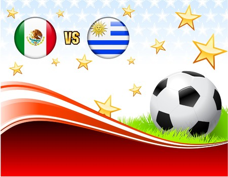 Mexico versus Uruguay on Abstract Red Background with Stars Original Illustration