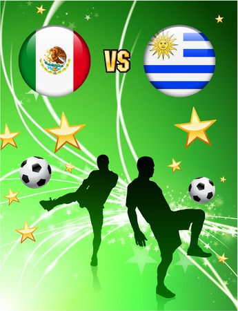 Mexico versus Uruguay on Abstract Green Stars Background Original Illustration