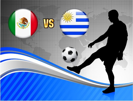 Mexico versus Uruguay on Blue Abstract World Map Background Original Illustration