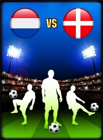 Netherlands versus Denmark on Stadium Event BackgroundOriginal Illustration Stock Illustration - 7138084
