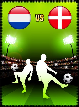 Netherlands versus Denmark on Stadium Event Background Original Illustration illustration