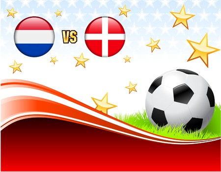 Netherlands versus Denmark on Abstract Red Background with Stars Original Illustration illustration