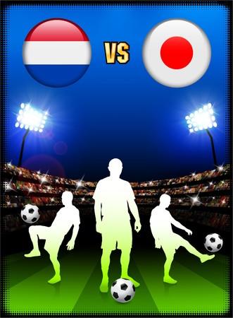 Netherlands versus Japan on Stadium Event BackgroundOriginal Illustration Stock Illustration - 7138081