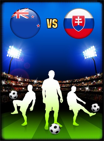 New Zealand versus Slovakia on Stadium Event Background Original Illustration illustration