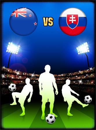 New Zealand versus Slovakia on Stadium Event BackgroundOriginal Illustration