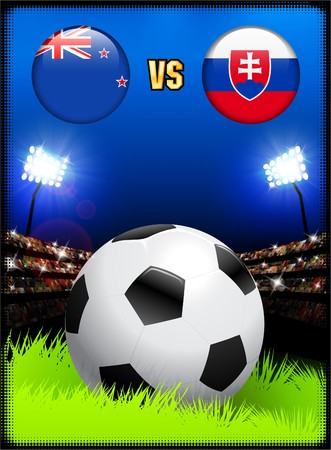 New Zealand versus Slovakia on Soccer Stadium Event Background Original Illustration illustration