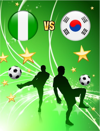 Nigeria versus South Korea on Abstract Green Stars Background Original Illustration illustration