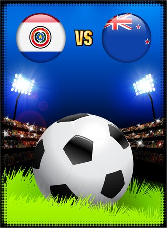 Paraguay versus New Zealand on Soccer Stadium Event Background Original Illustration illustration