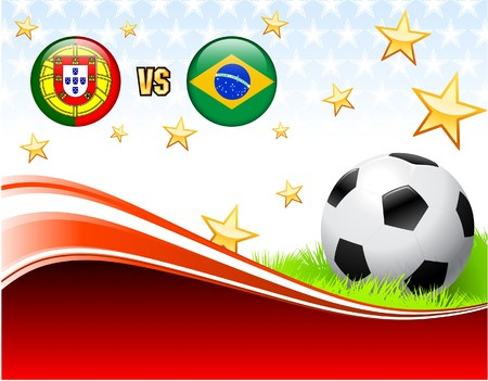 Portugal versus Brazil on Abstract Red Background with Stars Original Illustration illustration