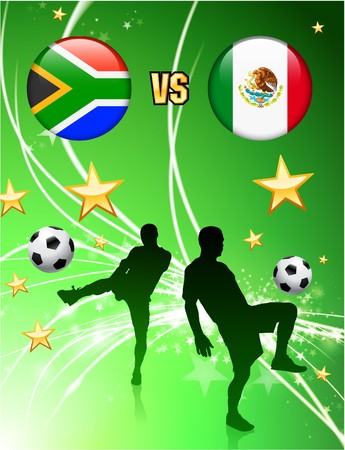 versus: South Africa versus Mexico on Abstract Green Stars Background Original Illustration
