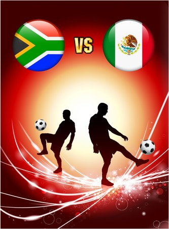 South Africa versus Mexico on Abstract Red Light Background Original Illustration illustration