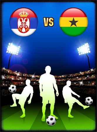 Serbia versus Ghana on Stadium Event Background Original Illustration