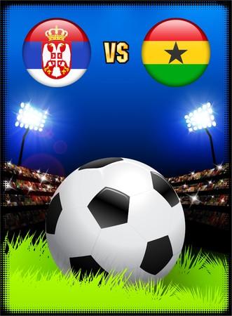 Serbia versus Ghana on Soccer Stadium Event Background Original Illustration