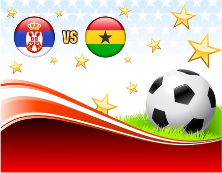 Serbia versus Ghana on Abstract Red Background with Stars Original Illustration