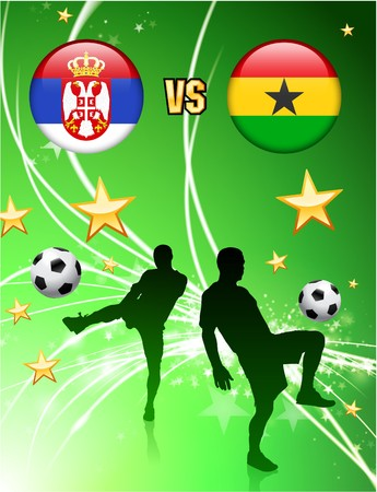 versus: Serbia versus Ghana on Abstract Green Stars Background Original Illustration