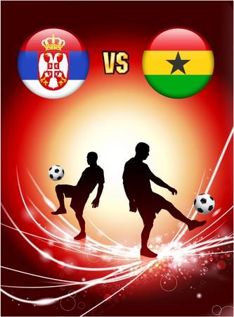 Serbia versus Ghana on Abstract Red Light Background Original Illustration Imagens