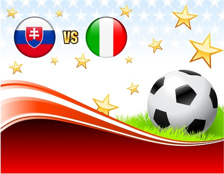 Slovakia versus Italy on Abstract Red Background with Stars Original Illustration illustration