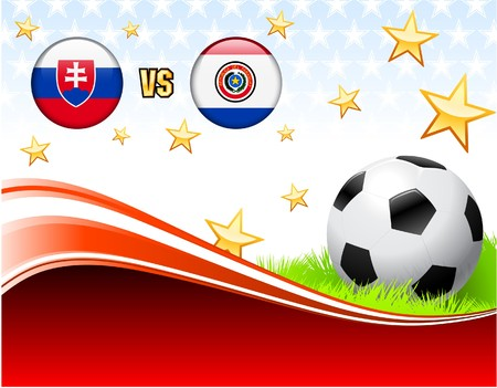 versus: Slovakia versus Paraguay on Abstract Red Background with Stars Original Illustration