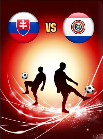 Slovakia versus Paraguay on Abstract Red Light Background Original Illustration illustration