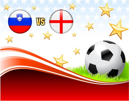 Slovenia versus England on Abstract Red Background with Stars Original Illustration illustration