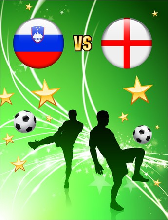 versus: Slovenia versus England on Abstract Green Stars Background Original Illustration