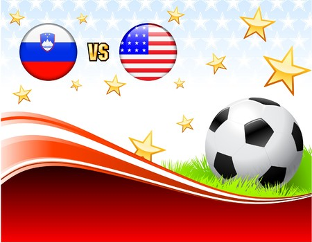 Slovenia versus United States on Abstract Red Background with Stars Original Illustration illustration