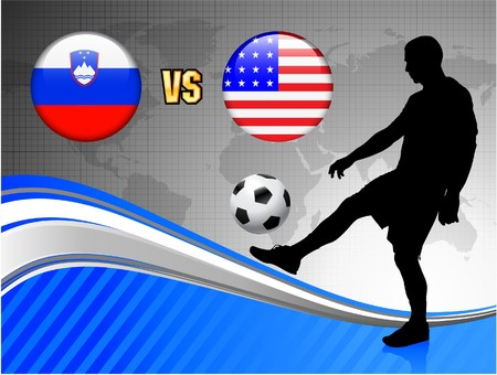 Slovenia versus United States on Blue Abstract World Map Background Original Illustration illustration