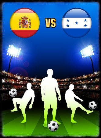 Spain versus Honduras on Stadium Event Background Original Illustration