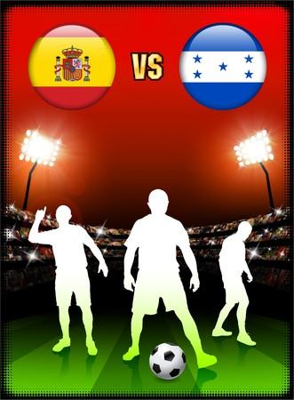 Spain versus Honduras on Stadium Event Background Original Illustration illustration