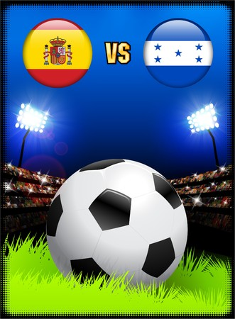 Spain versus Honduras on Soccer Stadium Event Background Original Illustration