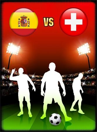 Spain versus Switzerland on Stadium Event Background Original Illustration