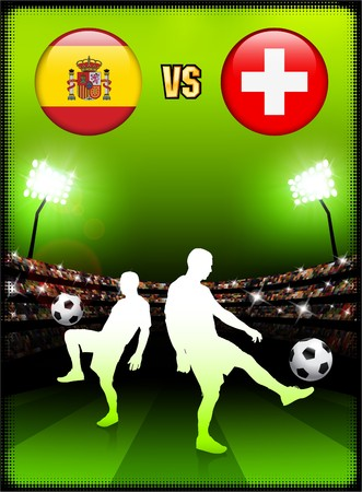 swiss flag: Spain versus Switzerland on Stadium Event Background Original Illustration