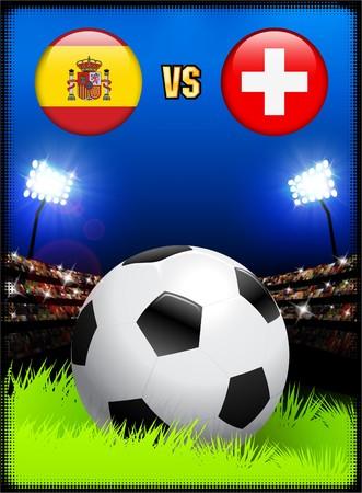 swiss flag: Spain versus Switzerland on Soccer Stadium Event Background Original Illustration