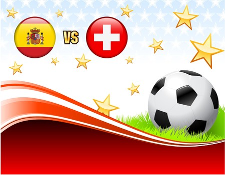 Spain versus Switzerland on Abstract Red Background with Stars Original Illustration Stock Photo
