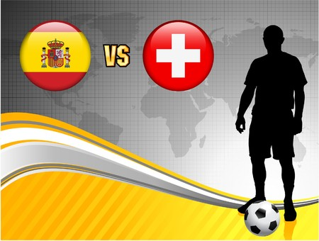 Spain versus Switzerland on Abstract World Map Background Original Illustration