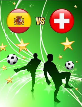 swiss flag: Spain versus Switzerland on Abstract Green Stars Background Original Illustration