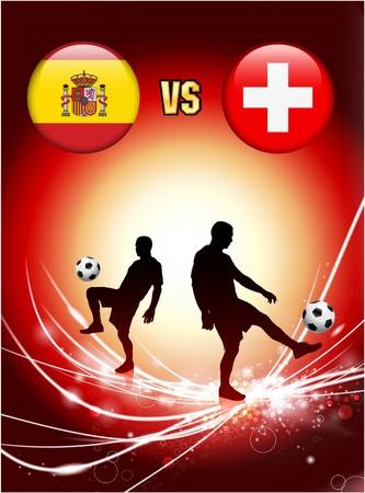 swiss flag: Spain versus Switzerland on Abstract Red Light Background Original Illustration Stock Photo