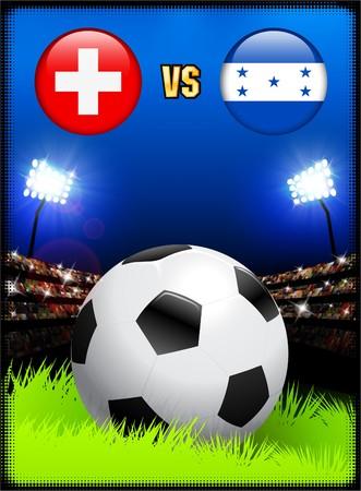 Switzerland versus Honduras on Soccer Stadium Event Background Original Illustration