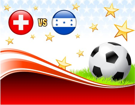 Switzerland versus Honduras on Abstract Red Background with Stars Original Illustration Stock Photo