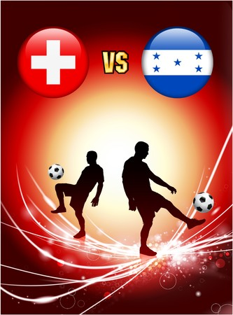 Switzerland versus Honduras on Abstract Red Light Background Original Illustration
