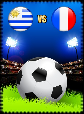 Uruguay versus France on Soccer Stadium Event Background Original Illustration illustration
