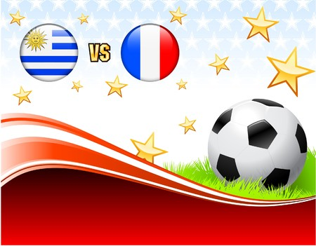 Uruguay versus France on Abstract Red Background with Stars Original Illustration