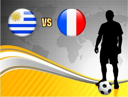 Uruguay versus France on Abstract World Map Background Original Illustration Imagens