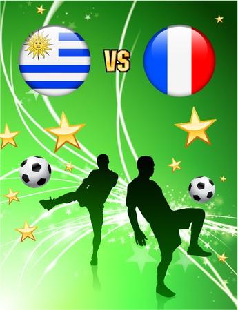 Uruguay versus France on Abstract Green Stars Background Original Illustration Imagens