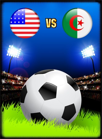 Algeria versus United States on Soccer Stadium Event Background Original Illustration illustration