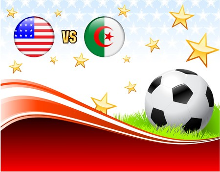 Algeria versus United States on Abstract Red Background with Stars Original Illustration illustration
