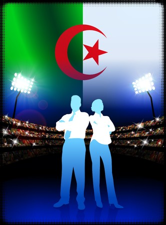 Algeria Business Couple on Stadium Background with Flag Original Illustration illustration