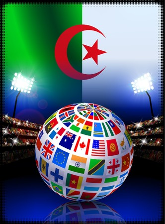 Flag Globe on Algeria Stadium Soccer Match Original Illustration illustration