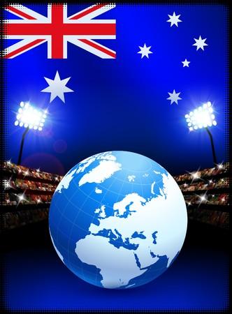 Globe on Stadium Background with Australia Flag Original Illustration illustration