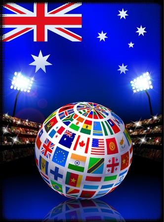 Flag Globe on Australia Stadium Soccer Match Original Illustration illustration